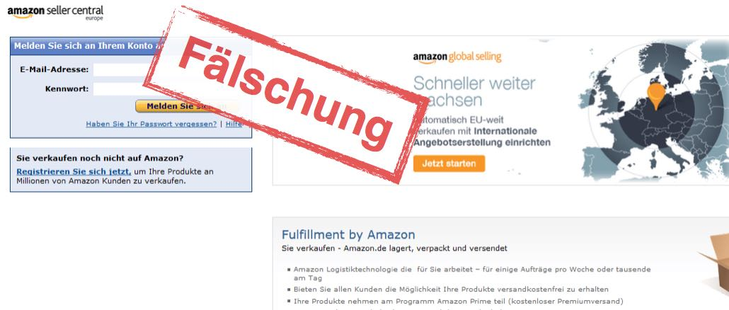 Amazon Seller Central Phishing E-Mail