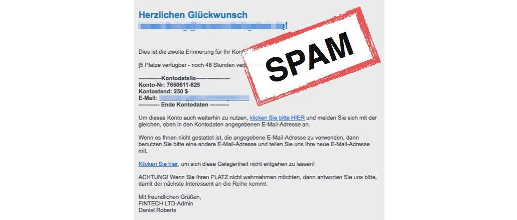E-Mail von FINTECH LTD ist plumpe Werbung