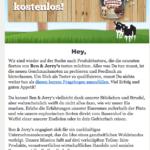 E-Mail mit Testaktion für Ben & Jerrys Eiscreme
