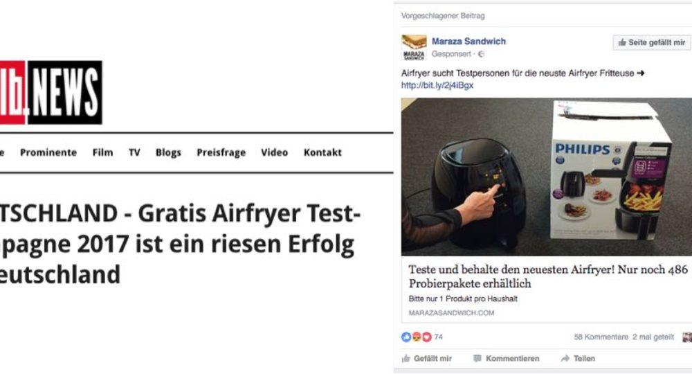 """Facebook: """"Airfryer sucht Testpersonen für die neuste Airfryer Fritteuse"""" ist ein Fake"""