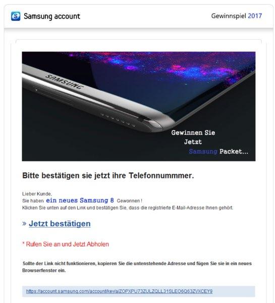 Fake Mail Spam Samsung Account Gewinnspiel Abzocke