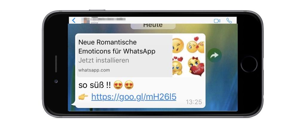Kettenbrief Falle romantische Emoticons
