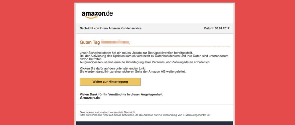 Nachricht von Ihrem Amazon Kundenservice Phishing