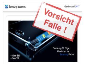 Samsung Gewinnspiel ist eine Fälschung
