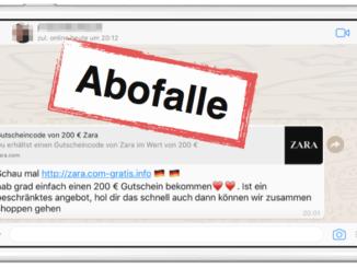 WhatsApp Abofalle 200 Euro Gutschein von Zara