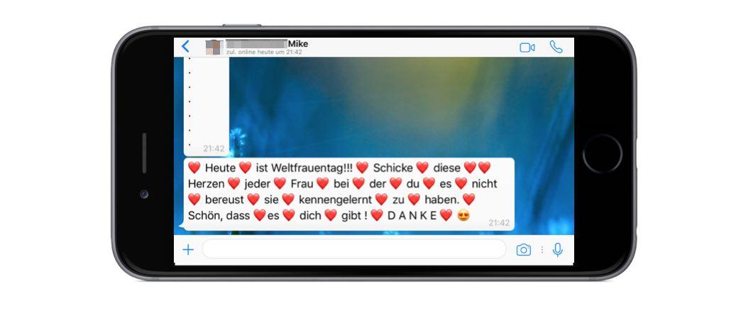 """WhatsApp Kettenbrief """"❤ Heute ❤ ist Weltfrauentag!!! ❤"""" - Wie gefährlich ist die Nachricht?"""