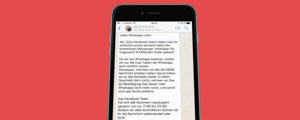 """Facebook/WhatsApp-Kettenbrief: Messenger wird kostenpflichtig """"Liebe Whatsapp-user!…"""""""
