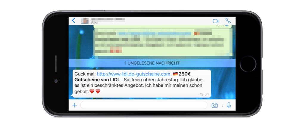 WhatsApp: Lidl-Gutschein ist eine Falle