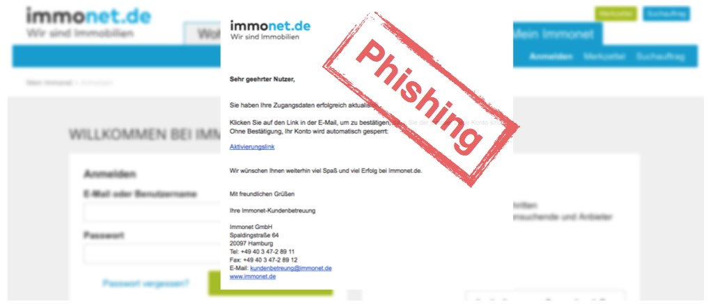 immonet.de Phishing: Datenklau