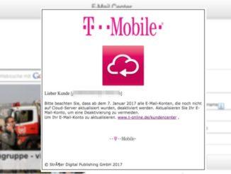 """Telekom T-Mobile: E-Mail """"warung : E-Mail-Speicher überschritten"""" ist Phishing"""