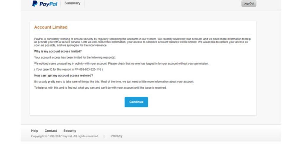 Auf der nächsten Seite wird Ihnen mitgeteilt, dass Ihr Account eingeschränkt wurde. Um diese teilweise Sperre aufzuheben, werden weitere Daten von Ihnen benötigt. (Screenshot)