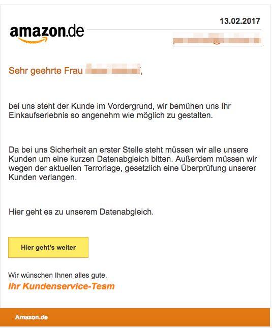 amazon phishing gef lschte e mails im umlauf warnung bersicht. Black Bedroom Furniture Sets. Home Design Ideas