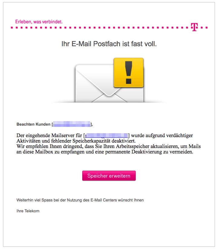 t online e mail sicherheit update ist phishing nachricht. Black Bedroom Furniture Sets. Home Design Ideas