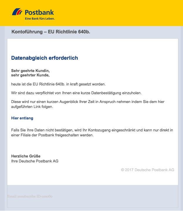 2017-03-04 Postbank Phishing Kontofuehrung – EU Richtlinie 640b