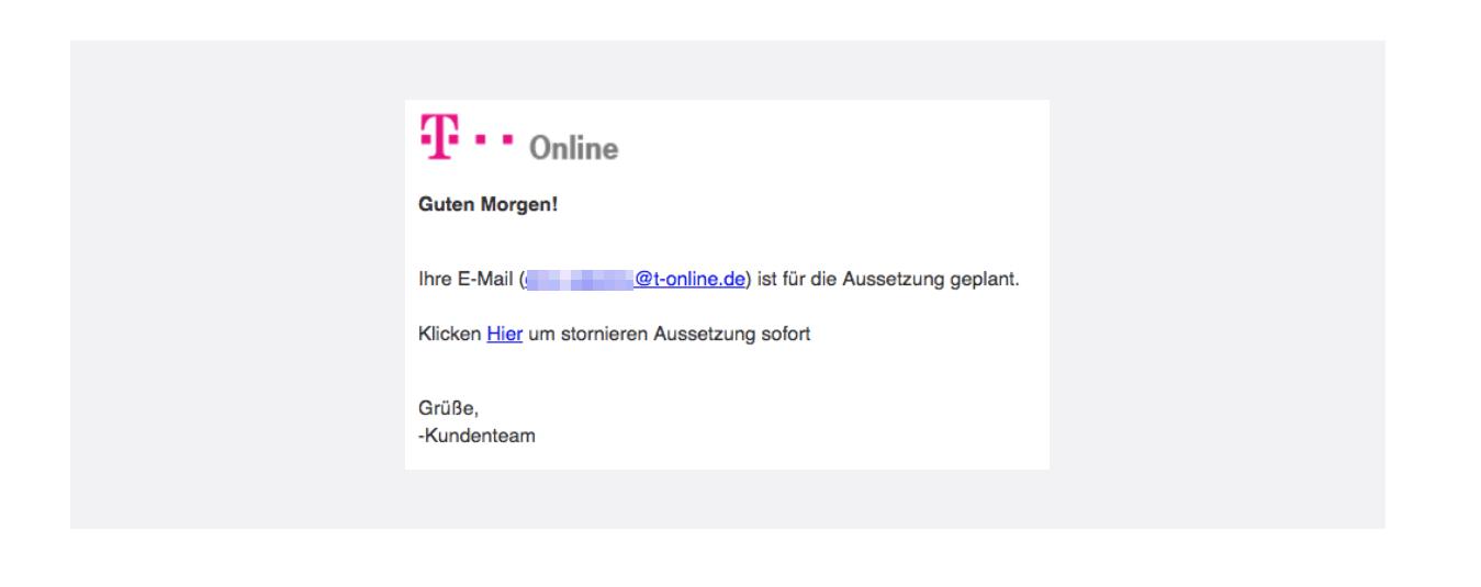 T Online E Mail Achtung E Mail Kontoinhaber Ist Phishing Nachricht