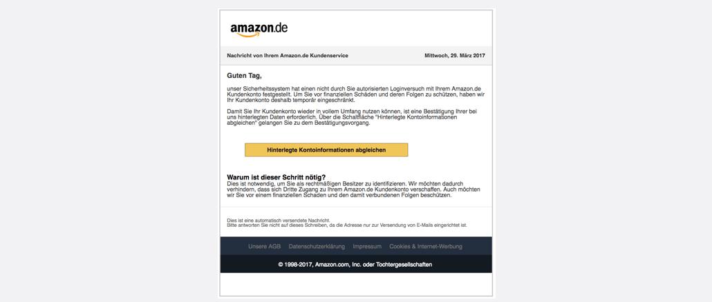 2017-03-30 Amazon Spam Phishing Nachricht vom Kundenservice