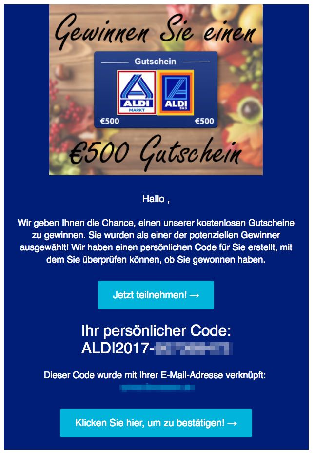 vorsicht spam e mail mit 500 euro einkaufsgutschein f r aldi. Black Bedroom Furniture Sets. Home Design Ideas