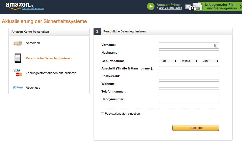 Amazon Phishing Webseite Datenabfrage