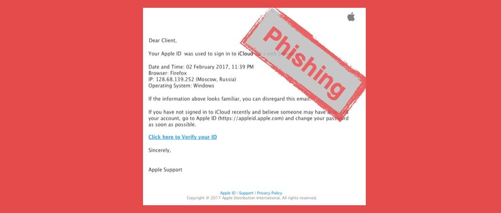 Apple Phishing Betrug iCloud Apple ID