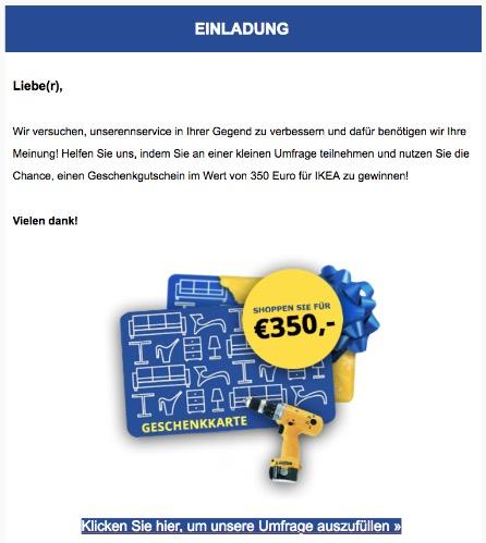 E-Mail IKEA Gewinnspiel 350 Euro Geschenkkarte