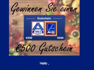 E-Mail Spam 500€ Gewinnspiel Aldi