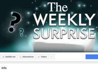 Facebook Gewinnspiel-Seite Die wöchentliche Überraschung