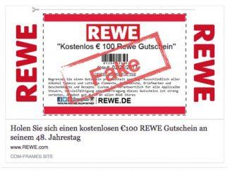 """Facebook Messenger: """"Kostenlos € 100 Rewe Gutschein"""" ist nicht von REWE"""