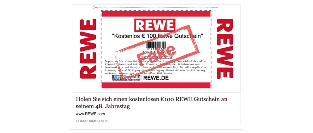 Vorsicht Fake 100 Euro Rewe Gutschein Auf Facebook Ist Nicht Echt