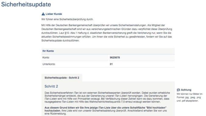Hochladen der TAN-Liste Phishing