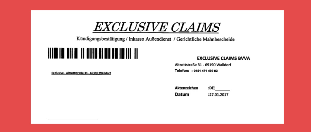 Mahnungen von Exclusive Claims BVVA