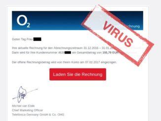 O2 Rechnung Fake mit Link zu Virus