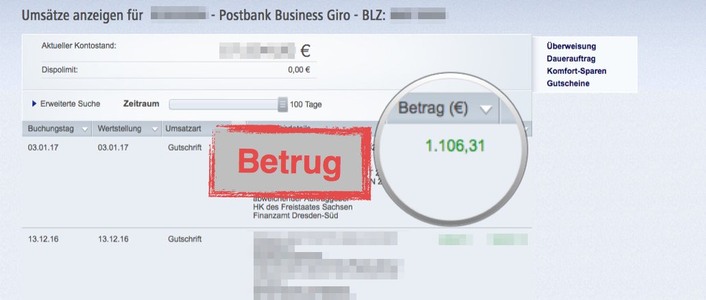 Onlinebanking Betrug Gutschrift Finanzamt