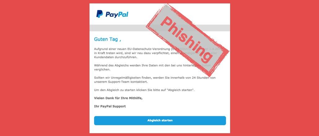 PayPal Phishing Betrug EU-Datenschutz-Verordnung EU-DSGVO