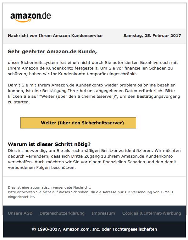 Phishing Mail vom Amazon Kundendienst