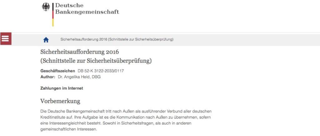 Phishing-Webseite Deutsche Bankengemeinschaft