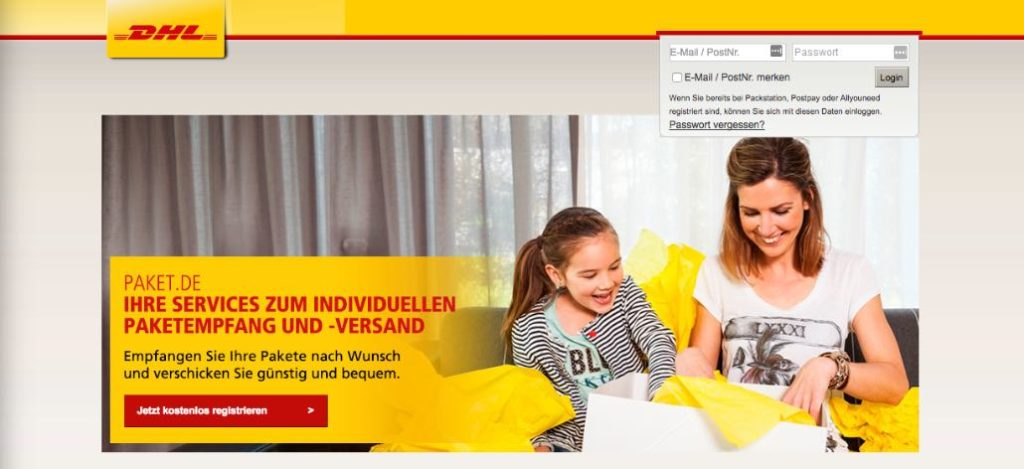 Phishing-Webseite paket-dhl.de