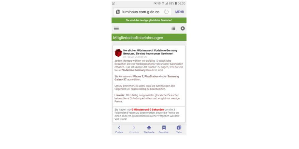 Dieses Pop-up erweckt den Eindruck, dass es von Vodafone stammt und wird auch nur Vodafone-Kunden angezeigt. Tatsächlich hat diese Werbung mit Vodafone jedoch nichts zu tun. (Screenshot)