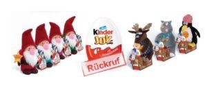 """Rückruf von kinder Joy Weihnachtsfiguren """"Wichtel"""" und """"Pistenheizer"""""""