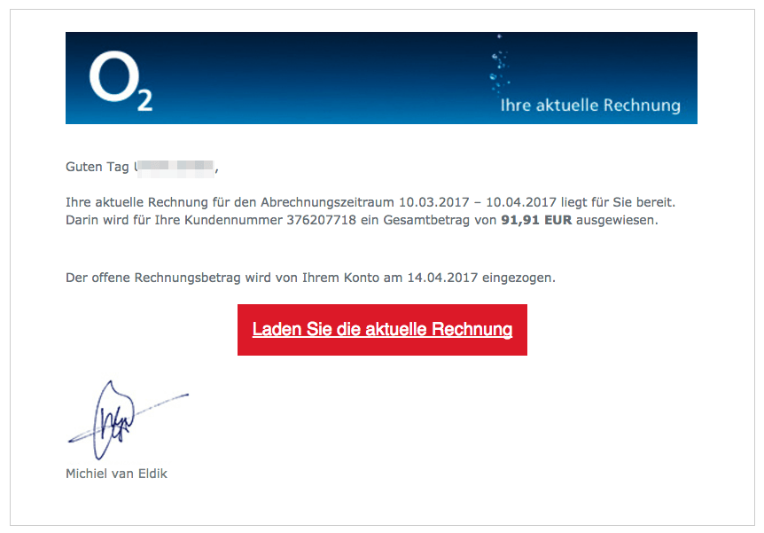 Spam-Mail O2 Virus April 2017