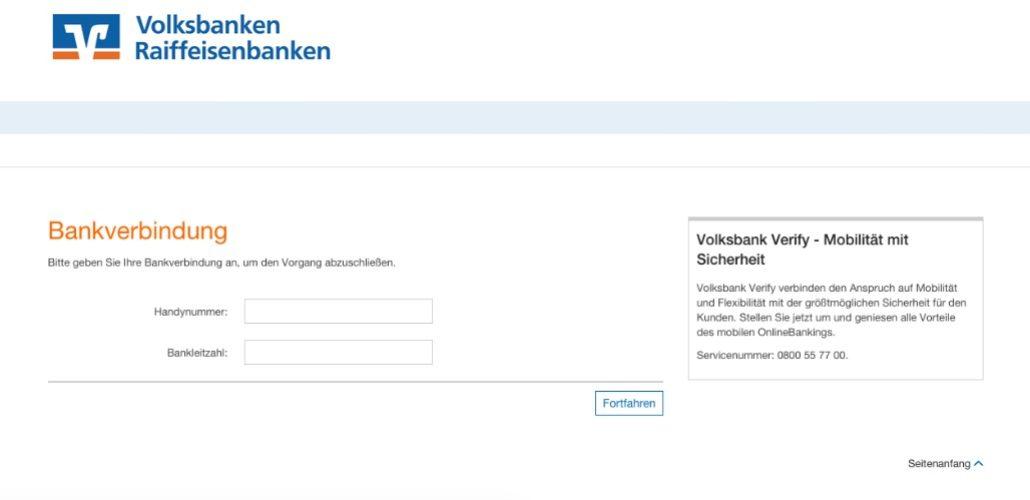 Auch die Handynummer und Ihre Bankleitzahl benötigen die Betrüger für den Angriff auf Ihr Geld. (Screenshot)