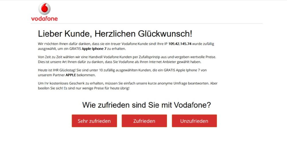 Auch Vodafone-Kunden werden gezielt via Browser Pop-up angesprochen. Angeblich bekommt der Auserwählte ein iPhone 7. Doch alles ist gefälscht. Die Nachricht stammt nicht von Vodafone und das iPhone gibt es auch nicht (Screenshot)