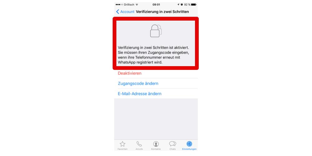 Wenn die Verifizierung in zwei Schritten aktiviert ist, können Sie in den Einstellungen den Zugangscode ändern. (Screenshot)