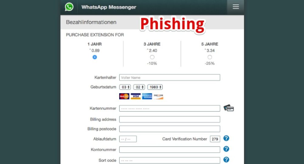 Whatsapp Phishing E Mail Rechnung Für Die Ist Betrug