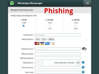 WhatsApp Phishing E-Mail Webseite