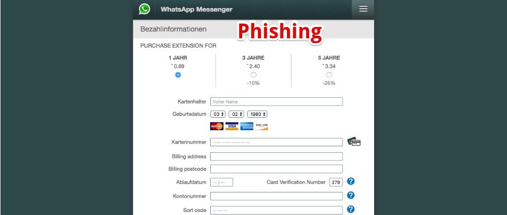 WhatsApp Phishing E-Mail Webseite
