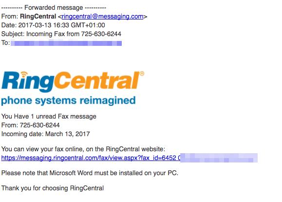 2017-03-14 RingCentral Virus Faxnachricht