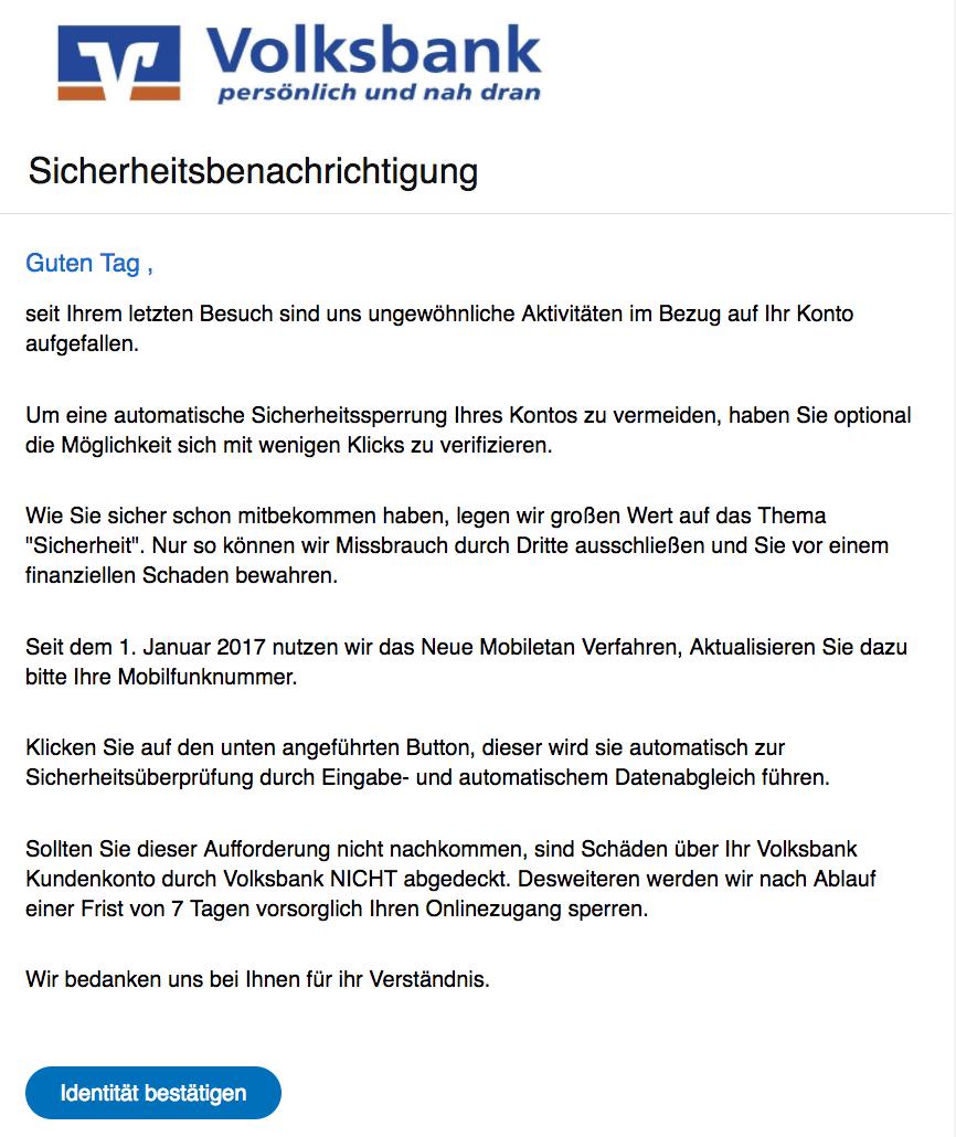 volksbank spam aktuell diese phishing mail sind im umlauf update. Black Bedroom Furniture Sets. Home Design Ideas