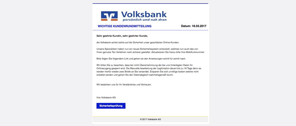 2017-03-18 Volksbank Spam Phishing Sicherheitsmitteilung