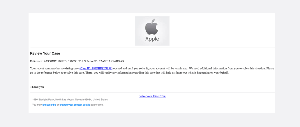 2017-03-19 Apple Phishing Review Your Case ID