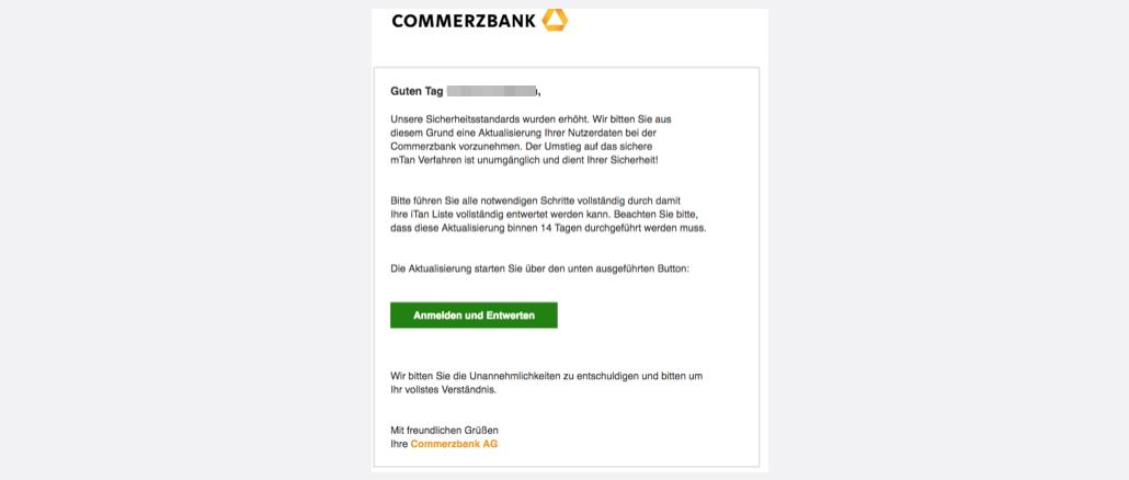 2017-03-25 Commerzbank Phishing Wichtige Mitteilung an Unsere Commerzbank Kunden